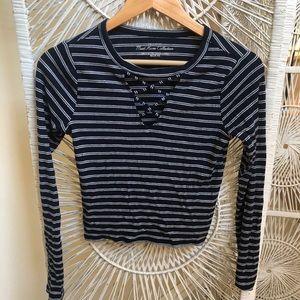 Hollister long sleeve striped crop top
